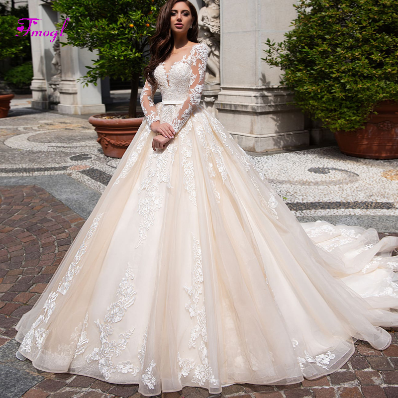 Fmogl Appliques Long Sleeves A Line Wedding Dress 2019 Fashion Scoop Neck Button Vintage Bridal Gown