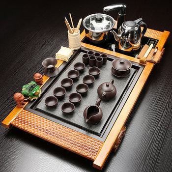 Wujin Stone Tea Tray Solid Wood Tea Table Kung Fu tea set Teapot Teacups Four in one induction cooker one complete set