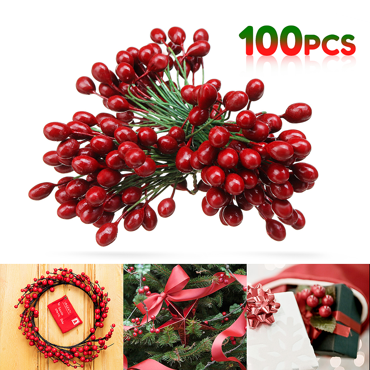Hot Sale 100pcs Artificial Red Holly Berry Berries 8mm Home Garland