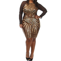 Plus Size Diamond Luxe Sequined Dress Sexy Long Sleeve Mesh Patchwork Pencil Midi Dress Sexy Club