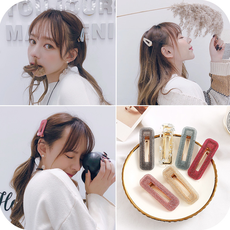2PCS Hair Clips For Women Girls Acrylic Starry Sky Hairpin Barrettes Female Alloy Hairgrips Duckbill Hairgrips Hair Accessories in Women 39 s Hair Accessories from Apparel Accessories