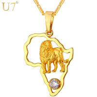 U7 2016 Gold Lion Necklace For Men Hollow Crystal Platinum 18K Gold Plated African Jewelry Women