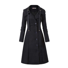 Rosetic Women Coat Long Medieval Trench Coat Women Winter Black Stand Collar Gothic Coat Elegant Women Coat Vintage Female Warm cheap Polyester 13334387 Turn-down Collar Single Breasted REGULAR Full Wool Blends Button Solid Long Sleeve Slim Single-Breasted