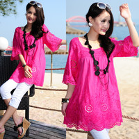 The New 2014 Bohemian Embroidery Cotton Linen 7 Minutes Of Sleeve Long Cultivate One S Morality