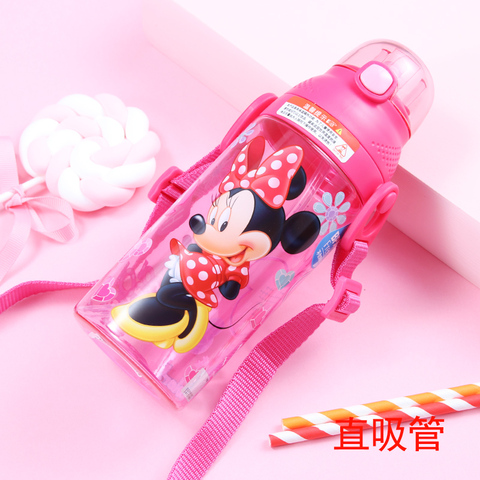350-500ML Disney Baby Straw Bottle Water Cup Boys Girls Learning Drink Water Strap Handle Cute Babies Baby Mickey Minnie Cup Pakistan