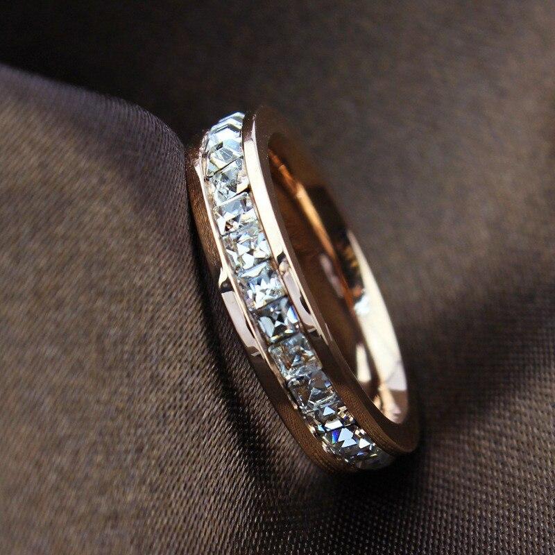 Geometric Design Women Fashion Wedding Ring Rose Gold Ring Titanium Steel Rings For Women Summer Engagement Jewelry R044