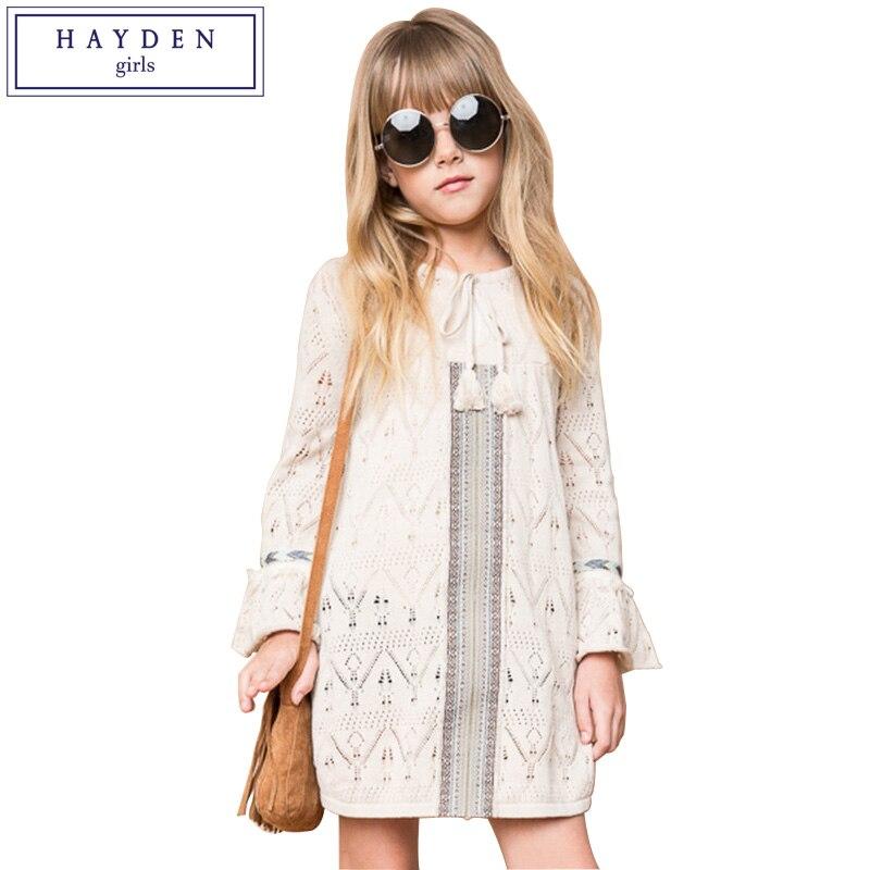 American Tween Girls Fashion: HAYDEN Girls Knit Dresses Long Sleeves Kids Bohemian