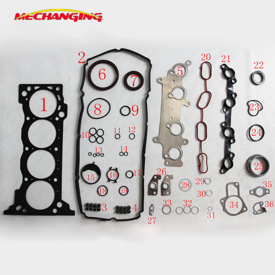 customized LOGO 2TRFE 2TR For TOYOTA TACOMA HIACE FORTUNER HILUX 2.7 METAL Engine Parts Full Set  Engine Gasket 04111-75802