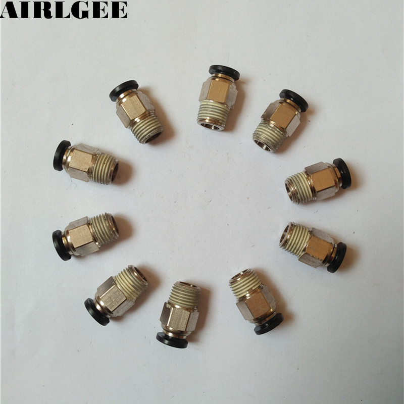 10 Pcs 1/8 PT Male Thread 4mm Push In Joint Pneumatic Connector Quick Fittings air pneumatic connector 6mm od hose tube push in m5 1 8 1 4pt 3 8 1 2 bspt male thread l shape gas quick joint fittings
