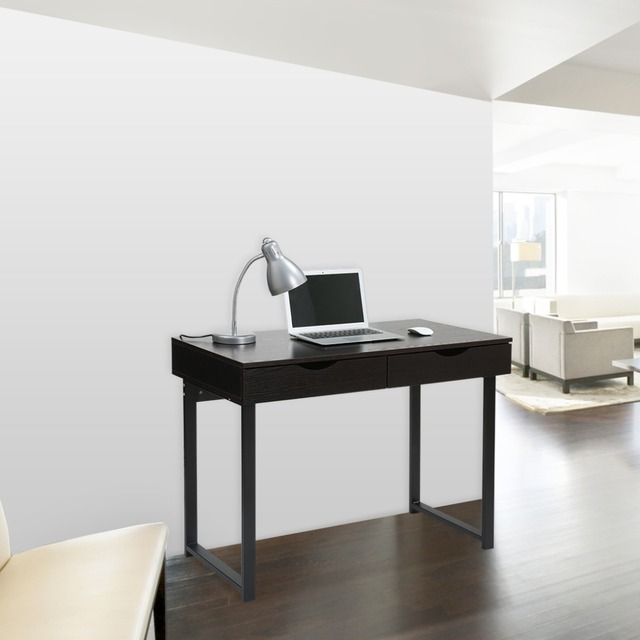 langria minimaliste bureau d 39 ordinateur table console avec 2 tiroirs accueil table d 39 ordinateur. Black Bedroom Furniture Sets. Home Design Ideas