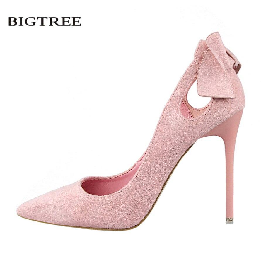 BIGTREE Spring Women Sweet Pumps Bow Thin High Heels Shoes Suede High-heeled Pointed Hollow Sandals Elegant Stiletto G3168-1 denim zipper hollow worn stiletto womens sandals