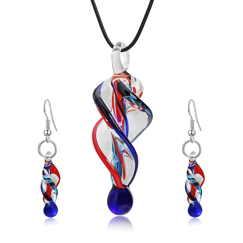 Jewelry-Sets Necklace Pendant Drop-Earrings Small Fashion Blue Glass Lampwork Murano