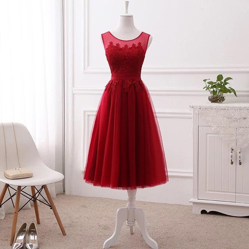 Meilleure vente thé longueur a-ligne dentelle courte robe De soirée élégante beaucoup De couleurs Vestido De Festa bal robe De soirée robe DR01M