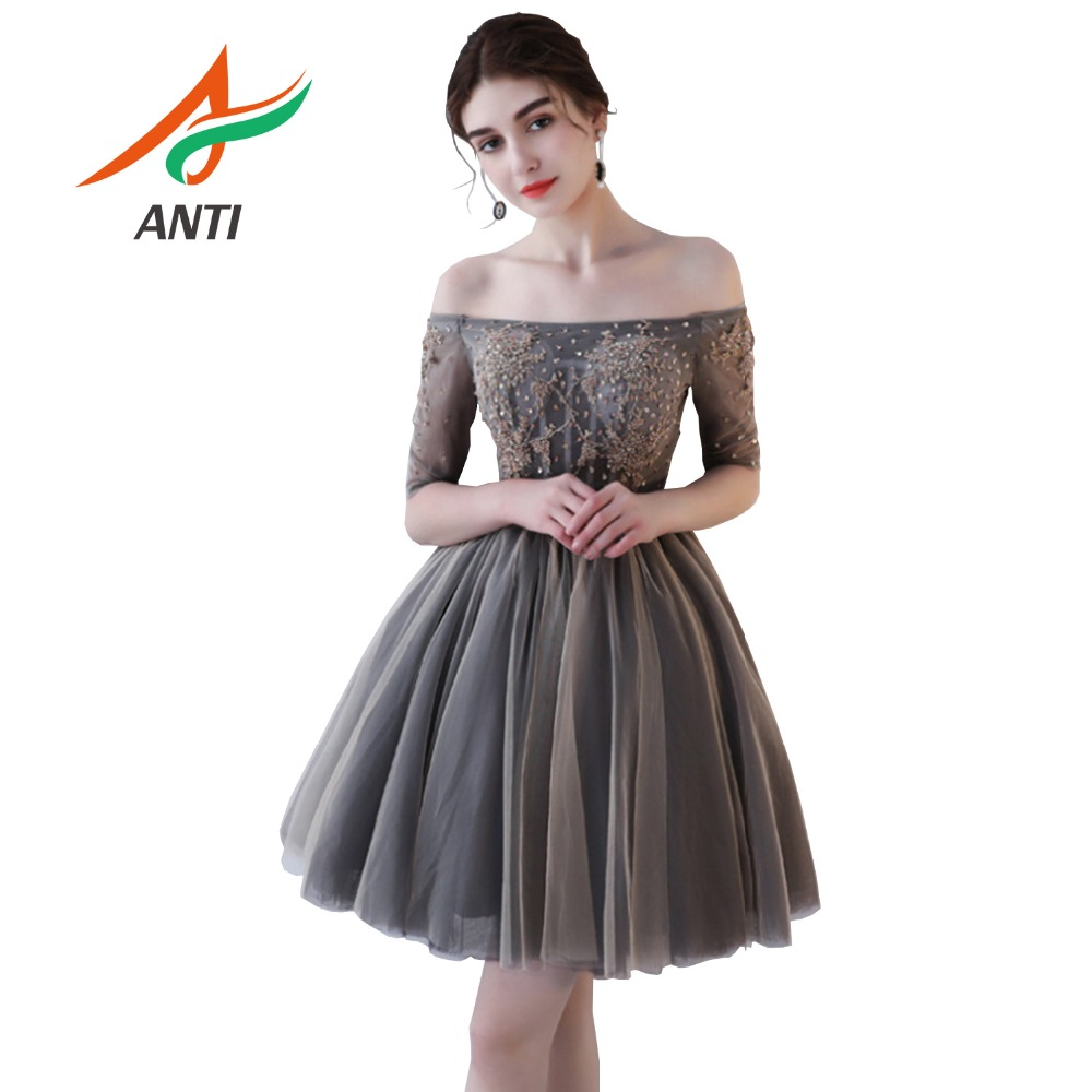 ANTI Fashion New Luxury Short   Cocktail     dress   Sleeveless Beading Sequined Elegant Banquet Formal Party Gowns Vestide Festa Custom
