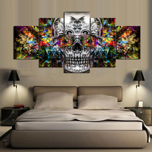 5 piece canvas art HD Painting Wall Art  Halloween skull Painting  picture paintings for living room wall Framed Art