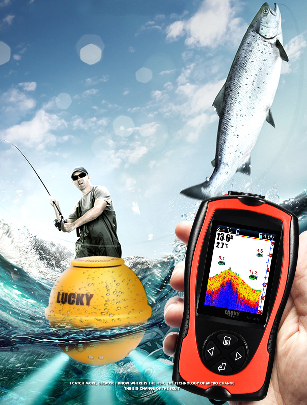 Free Shipping! LUCKY FF1108-1CWLA Rechargeable Wireless Remote Sonar Sensor 45M water depth High Definition LCD Fish Finder (6)
