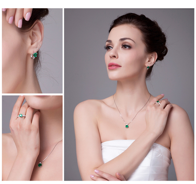 Created Emerald Jewelry Set