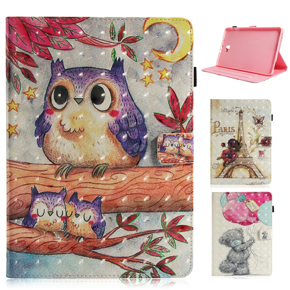3D Cartoon Tablet Case For Samsung Galaxy Tab A A6 10.1Inch 2016 10.1 T585 T580 T580N Smart Cover Cartoon PU Leather