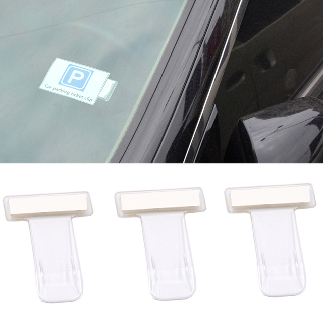 3PCS Car Parking Ticket Holder Clip Automotive Internal Organizer Car Styling For Car windshield Fastener Stickers