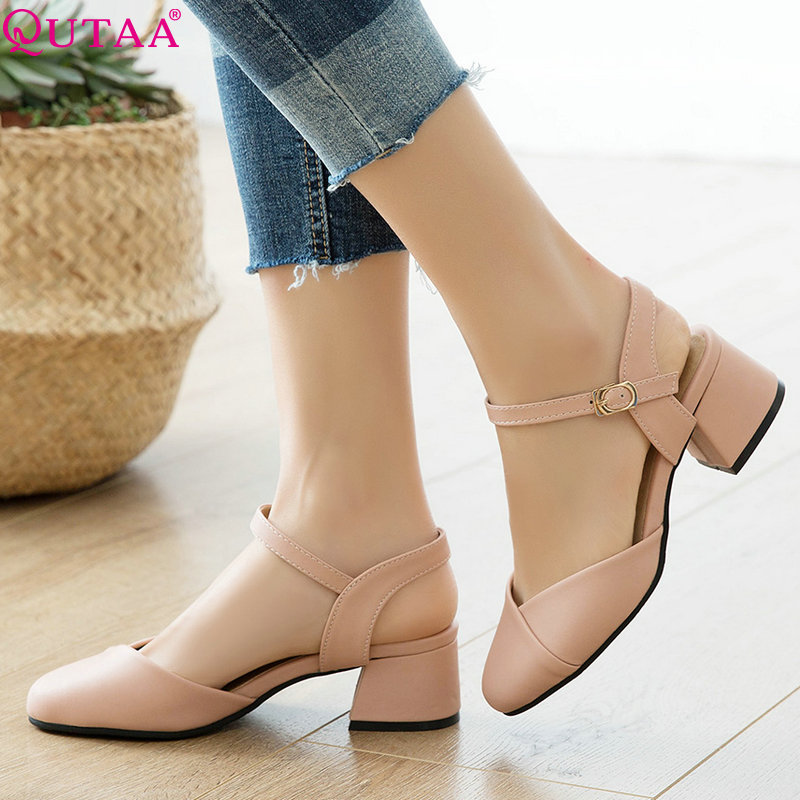 QUTAA 2019 Women Pumps Fashion Shoes Square Heel Pu Leather Pink White Elegant Casual Women Shoes Women Pumps Size 34-43QUTAA 2019 Women Pumps Fashion Shoes Square Heel Pu Leather Pink White Elegant Casual Women Shoes Women Pumps Size 34-43