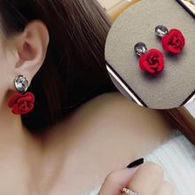 Classic Red Fabric Drop Glass Rose Earrings Female Fashion Accessories Summer New WomenS Jewelry Bijoux Gift