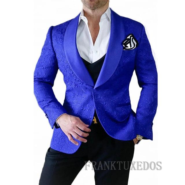 03a34978e Traje Homme 2018 trajes de boda para hombres chaqueta Jacquard azul real  unidades conjunto de 3