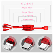 Mobile phone charging cable data three-in-one line multi-function telescopic mobile fast