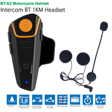 Waterproof BT S2 Multi BT Interphone 1000M Motorcycle Bluetooth Helmet Intercom Intercomunicador Moto Interfones Headset FM