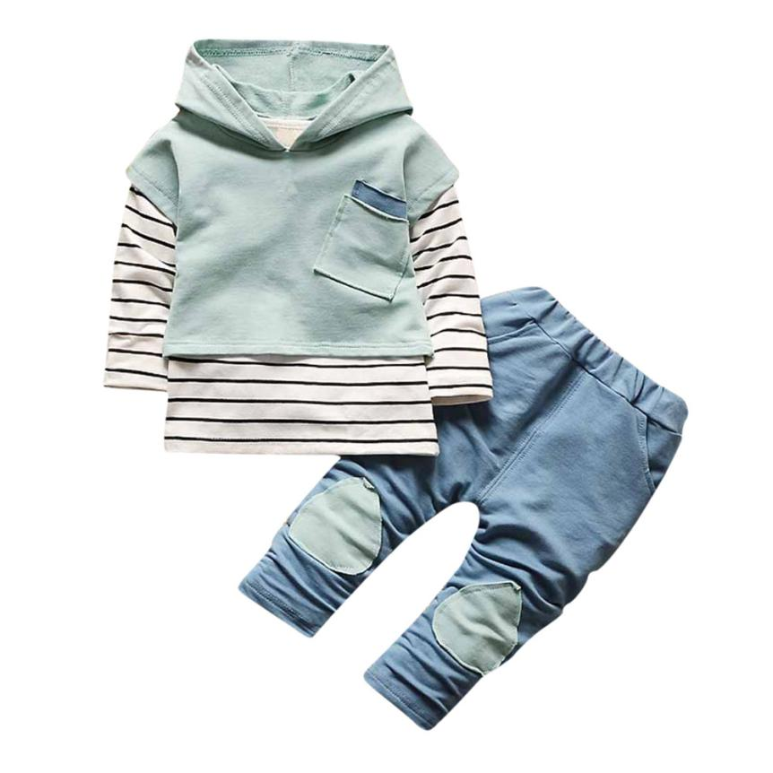 2018 Hot Sale Toddler Kids Baby Boy Girls Outfits Hooded Stripe T-shirt Tops+Pants Clothes Set Baby Set Clothing 6.19