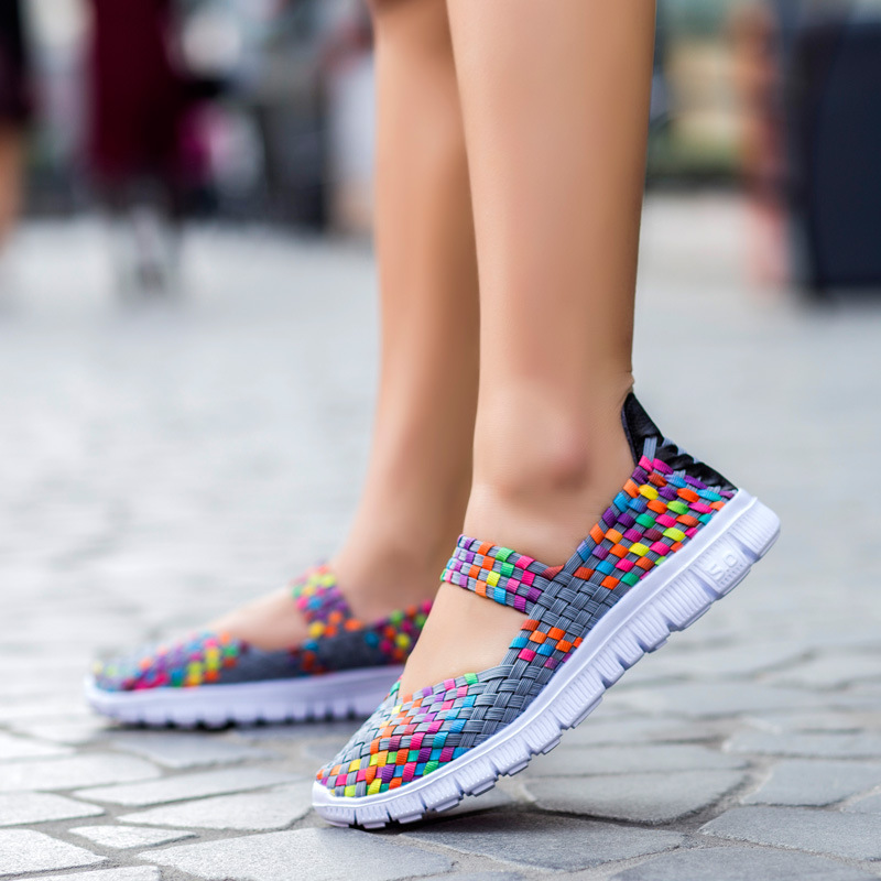 Women Shoes 2017 Summer Breathable Lady's walking Shoes Lace up Girls Handmade Women Woven fitness Shoes