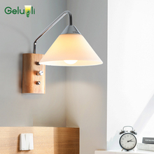 Indoor wall mounted led wall sconce E14 socket, built-in switch wood base wall lamp include led bulbs 220-240V