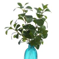4Pcs real touch 3D Print Ficus tree branches artificial leaves faux foliage for home decor flower arrangement plants green leaf