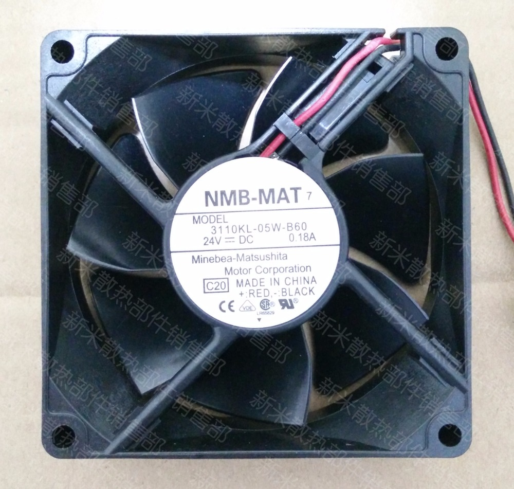 NMB-MAT 3110KL-05W-B60 C20 DC 24V 0.18A     80x80x25mm Server Square  Fan nmb mat 3110kl 04w b49 b02 b01 dc 12v 0 26a 3 wire server square fan