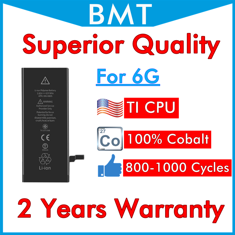 BMT Original 10pcs/lot Superior Quality Battery 100% Cobalt Cell TI CPU 1810mAh 3.82V for iPhone 6 6G replacement 0 cycle