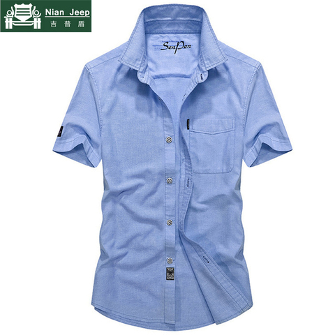 2018 Summer Military Solid Shirt Men Cotton Casual Short Sleeve Chemise homme Plus Size M-4XL Mens Shirts Camisa masculina Pakistan