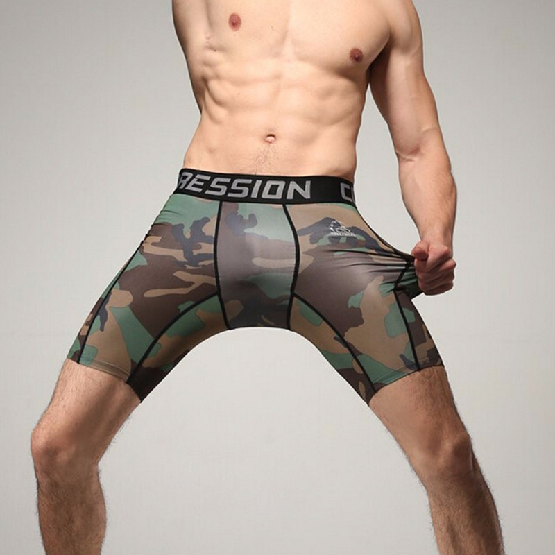 Mens Compression Shorts Summer Camouflage Bermuda male gyms Fitness Crossfit Bodybuilding Joggers workout Tights short pants