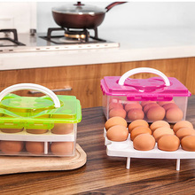 h2xd 6005 plastic two layer handheld gadgets organizer container storage box yellow High Quality 2 Layer 24 holes Plastic Egg Holder Storage Box Portable Kitchen Food Container Egg Storage Box Organizer
