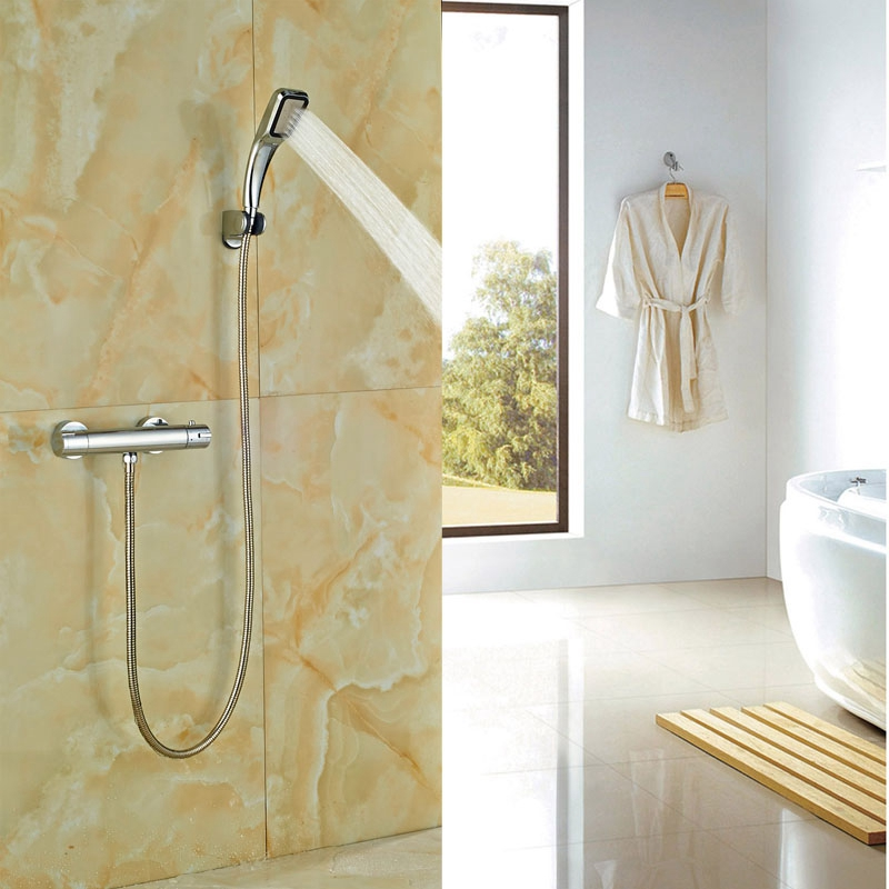ФОТО Newly Design Chrome Polish Tub Faucet Wall Mounted Thermostatic Faucet Double Levers