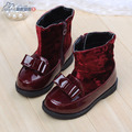 2016 new baby leather shoes autumn and winter baby boots thermal medium-leg boots baby shoes size 21-25