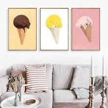 Creative Ice Cream Poster Sleeping Cartoon Animal Canvas Painting Fox Cat Modular Picture Dessert Shop Decoration Wall Art Print