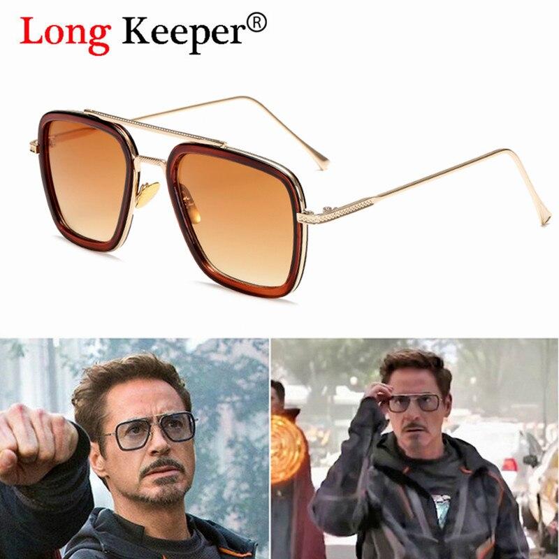 Luxury Fashion Tony Stark Flight Style Man Sunglasses Men Square Brand Design Sun Glasses Oculos Retro male iron Man