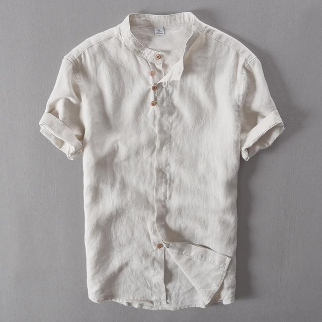 Zwart Linnen Heren Overhemd.Mannen Pure Linnen Toevallige Korte Mouwen Chinese Kraag 100 Linnen