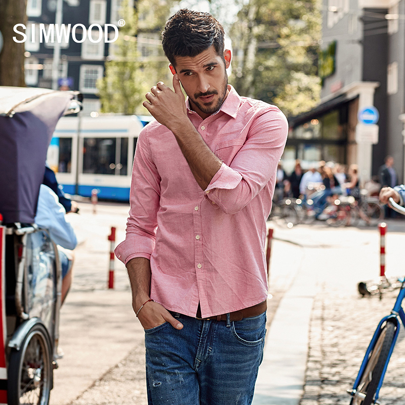 simwood 2018 casual shirts men oxford slim fit spring new