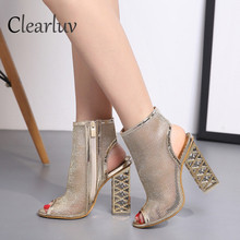 New fashion show Black net Suede fabric Cross strap Sexy high heel sandals woman shoes pumps lace-up peep Toe Sandals C0662