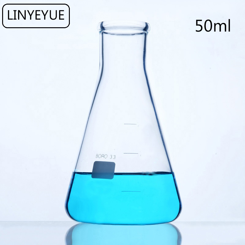 LINYEYUE 50mL Glass Conical Flask Chemistry Erlenmeyer Flask Borosilicate Glass High Temperature Resistance Laboratory Equipment