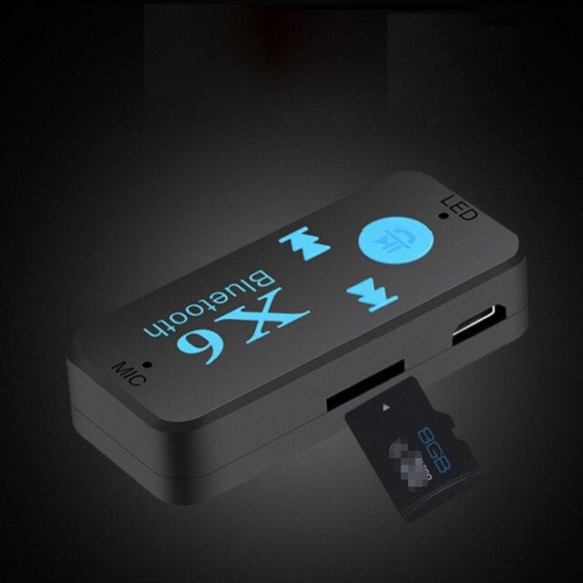 Беспроводной мини адаптер с Bluetooth приемником, 3,5 мм разъем AUX для автомобиля, портативный комплект для автомобиля, TF карта, Mp3, Музыкальный ресивер
