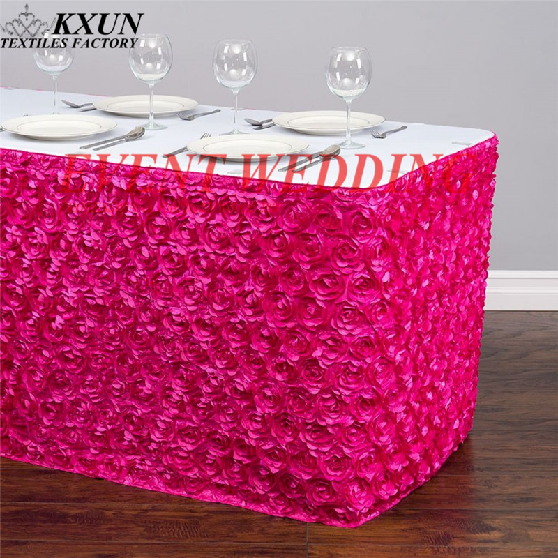 New Design Satin Rosette Table Skirt Cake Tale Cloth Skirting For Wedding Event Banquet Festival Decoration