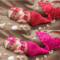 Red and Hot Pink Newborn baby Crochet Mermaid Costume Princess Girl Photography Props Knitted Infant Photo Props 1set  MZS-14113