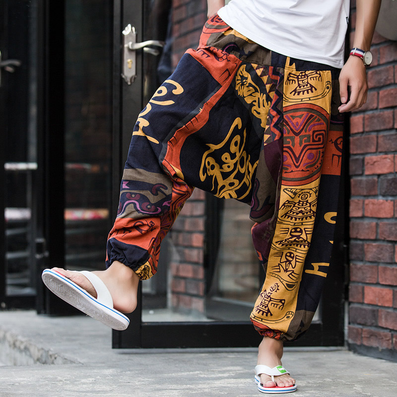 Men Causal Flower Printed Hippy Baggy Boho Elastic Cross-Pants Loose Trousers Aladdin Wide Leg Cotton Linen Harem Pants(China)