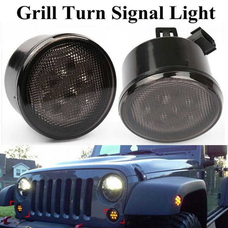 2PCS/Pair Grill Turn Signal Light For Jeep Wrangler JK 07-15 Kit Front 8 LED Fender Recon Smoked Amber Lamp Free Shipping 1pair led side maker lights for jeeep wrangler amber front fender flares parking turn lamp bulb indicator lens